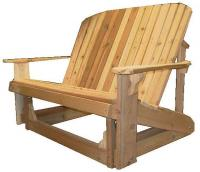Click to enlarge image Adirondack Loveseat Glider 44`` Seat Width - Designed for love birds with room for two to curl up in!